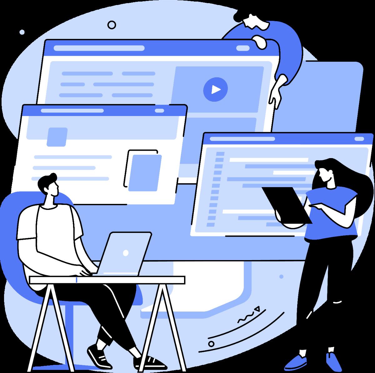 three people accessing self storage website