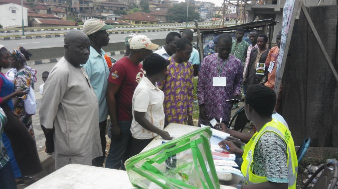 Ogun residents casting their votes on Saturday