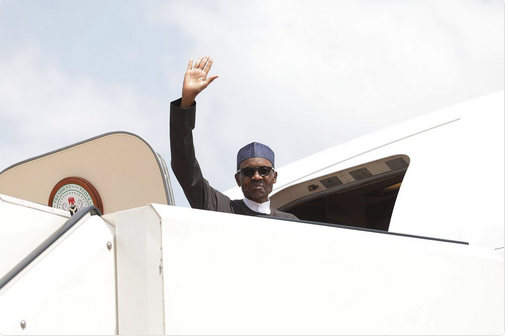 President Buhari on an official visit to Germany.