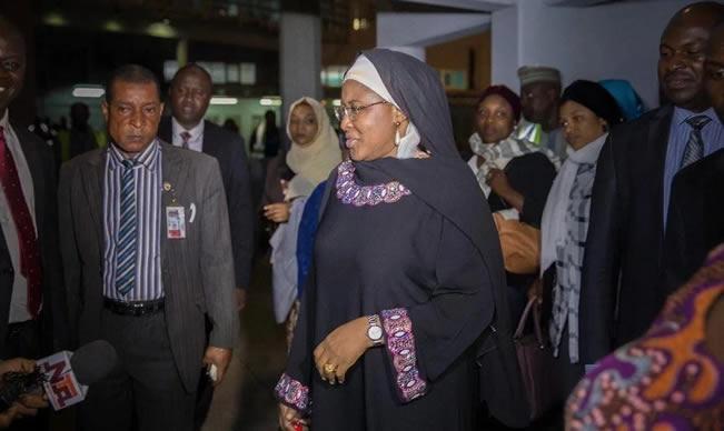 Image result for Aisha Buhari returns from South Korea
