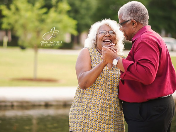 Senior citizens making love