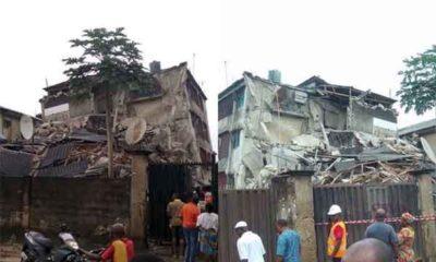 Collapsed three-storey building on Tuesday at Ilufe road, Alaba International Market, Ojo Lagos State.