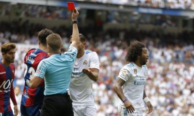 Levante hold Real Madrid marcelo gets red card