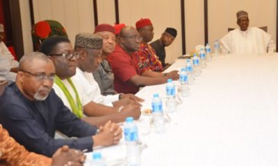 Buhari -with-a-cross-section-of-South-East-leaders-in-Abuja-on-Friday.
