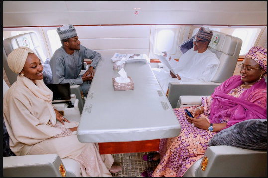 President Buhari, his wife Aisha and son and daughter aboard the Presidential jet, enroute to Turkey Photo: Bayo Omoboriowo/Twitter