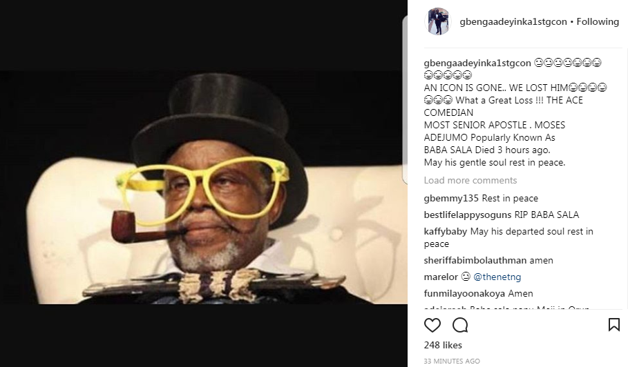 Gbenga Adeyinka apologises for starting Baba Sala death rumour