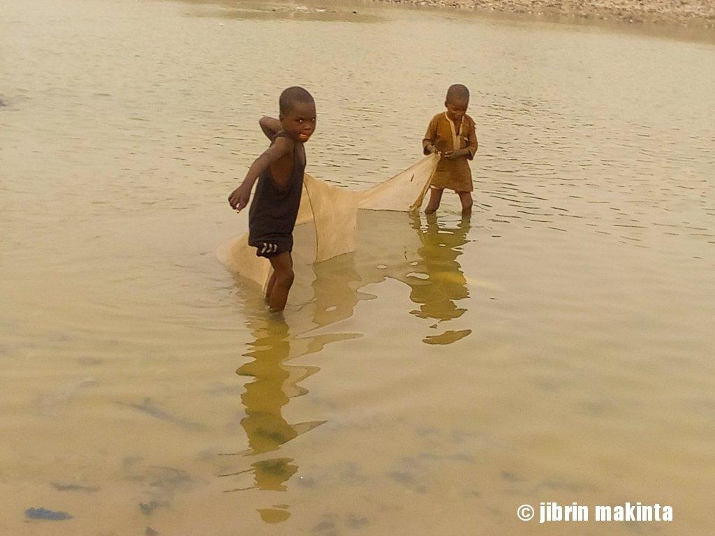 Two young boys pull a net as they fish at river Ngadda bul. Maiduguri.