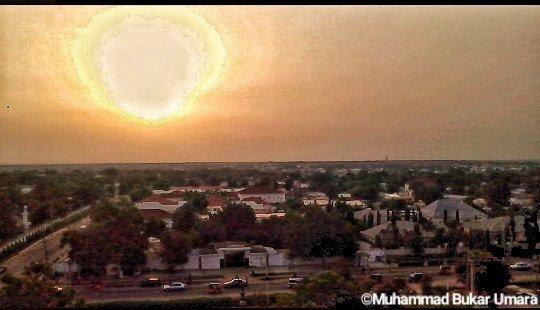 An upper view of Damboa road area at sunset, Maiduguri.