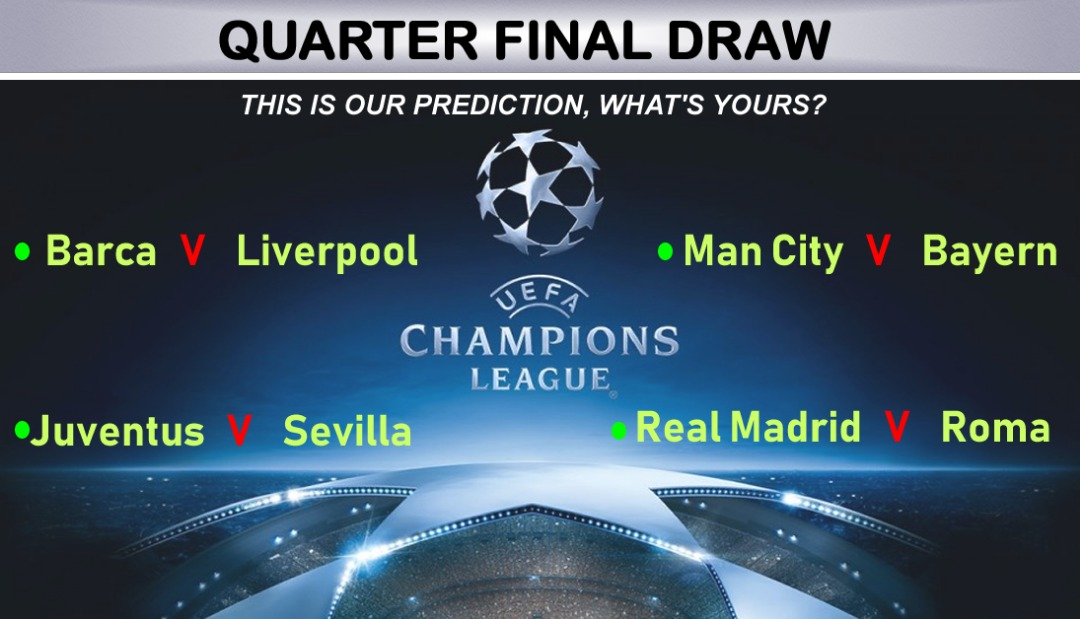 Uefa Champions League Quarter Final Draw This Is Wuzup S Prediction