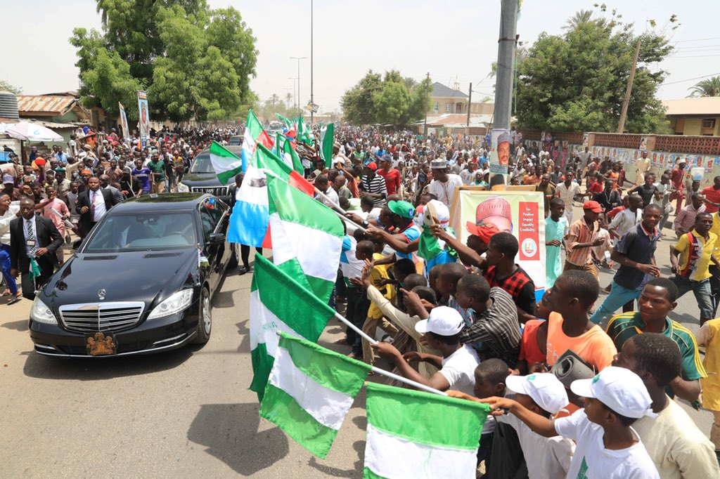 Image result for 2019 Poll: Mammoth Crowd Welcome Buhari As He Campaigns In Bauchi