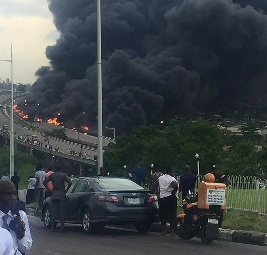 Image result for (Video) Otedola Bridge fire: Moments before the incident