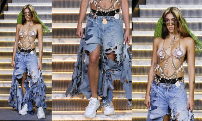 Madonna's daughter Lourdes Leon wears bizarre shell bralet and has hairy legs on New York Fashion Week runway