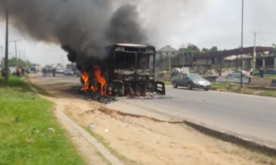 BRT bus in flames