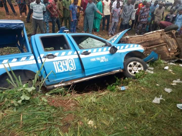 Image result for inages of FRSC Vehicle, Cab Crash in Ibadan