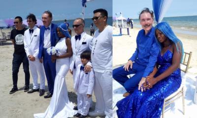 Nigerian lady, 21, marries 65-year-old white man at Oniru Beach [Photos]