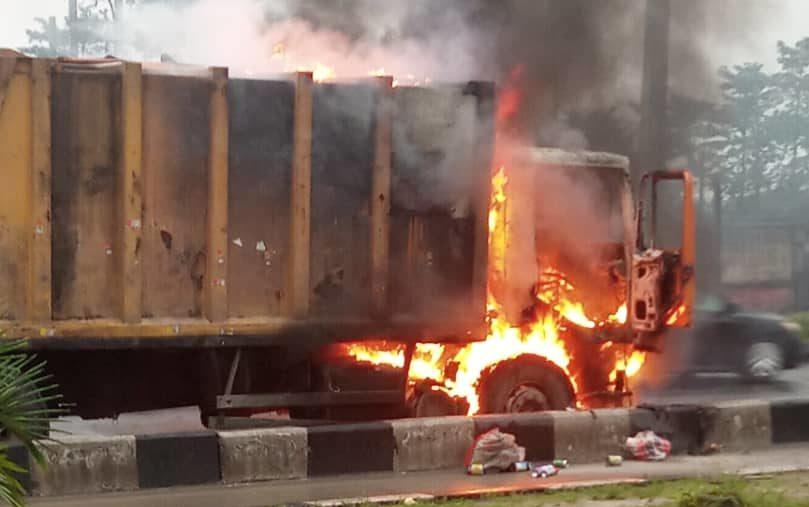 truck ablaze