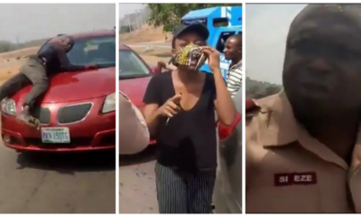 Policeman spotted on bonnet of speeding vehicle of a lady who refused to stop for security operatives (video)