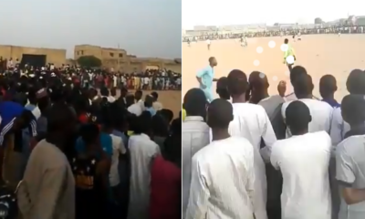 Kano residents defy social distancing to see football match (video)