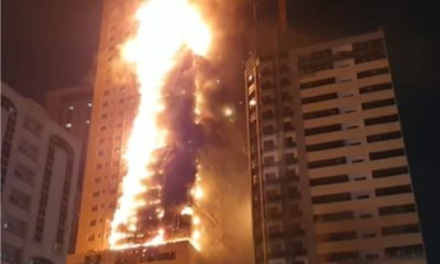 Fire guts 48-storey building in Al Nahda (video)