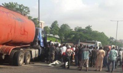 JUST IN: Passengers feared dead as fuel tanker crushes bus near Otedola bridge