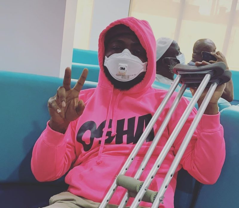 Who cares, clout chaser, Nigerians react to Davido in crutches