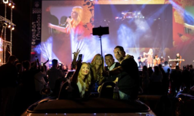 Drive-in music concert: Greeks dance, sing, from their cars as they maintain social distancing