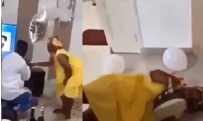 Overly excited lady rolls on the floor, jumps on boyfriend after he proposed