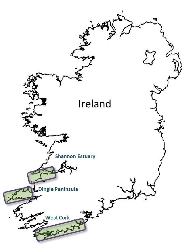 Map Of Ireland Showing Dingle.Ireland Whale Watching Handbook