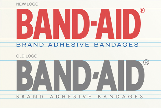 Band Aid Logo Old New