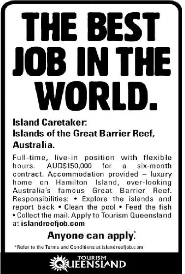 Best Job In The World Print Ad