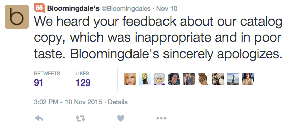 Bloomingdale's Apology On Twitter
