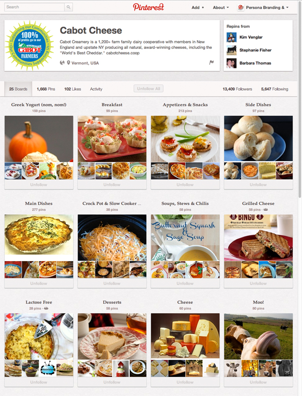 Cabot Cheese Pinterest