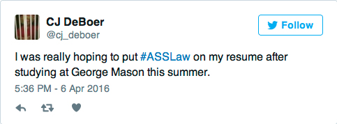 George Mason Ass Law Tweet