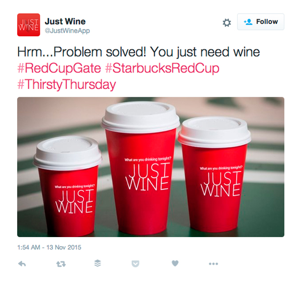 Just Wine Starbucks Cup Twitter