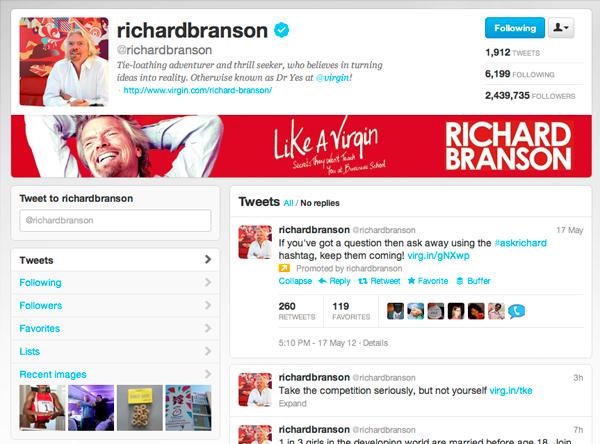 Richard Branson Twitter