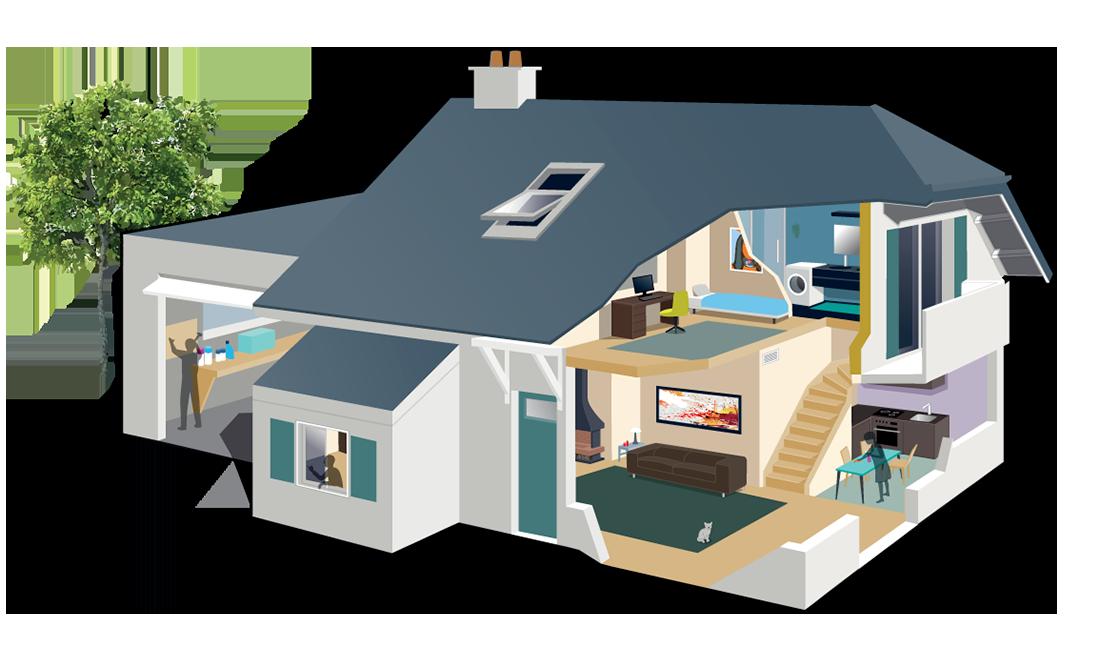 Schéma des éléments polluants à l'intérieur d'un logement