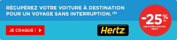 - 25 % sur la location de voiture avec Hertz
