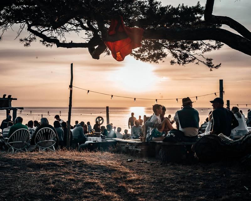 Outdoor restaurant at Surflogiet on Gotland