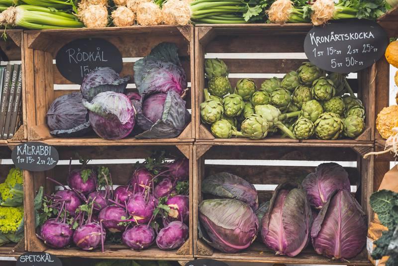 Vegetables at a farm shop in Halland