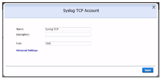 Syslog TCP Account