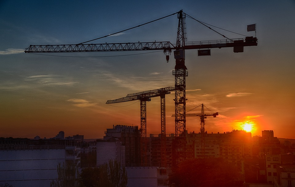 sunset over construction