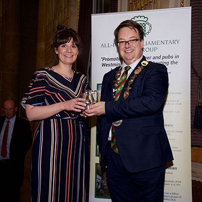 Jane Kershaw, of Joseph Holt Brewery named 'Brewer of the Year' by the All-Party Parliamentary Beer Group in 2019