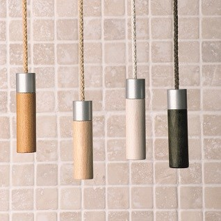 our wooden bathroom light pulls