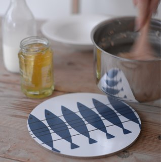 Heatproof trivets and mats in lovely vintage Swedish retro designs for placing hot kitchen items