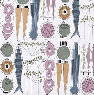 Soft furnishing fabric by the metre in cheerful vintage retro Scandinavian designs from the 50's
