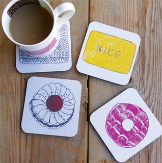 Cork backed coasters in bright designs and cheerful prints made from melamine or wood veneers