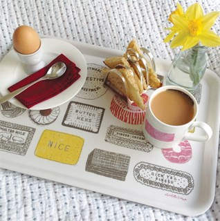 Trays in bright contemporary designs made from melamine or Swedish vintage designs made from beech.
