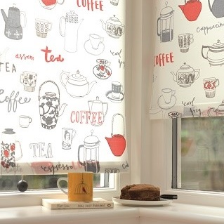 tea and coffee roller blind print in window 1