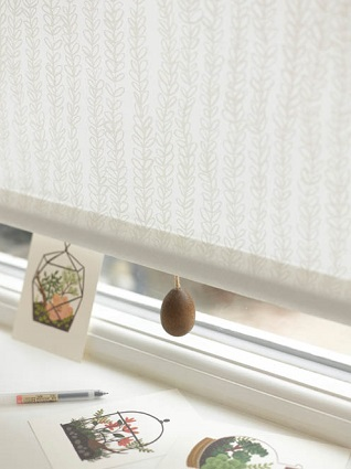 grey roller blind with wooden egg pull