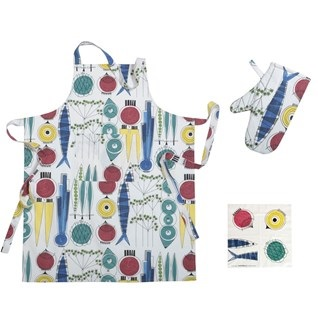 summer bbq apron, glove and pot holder gift set